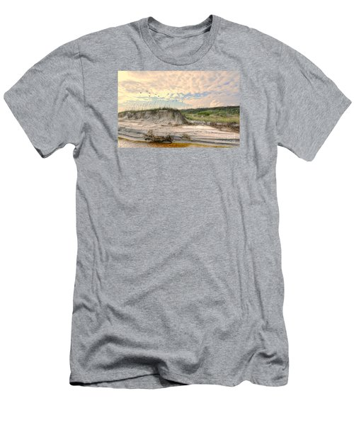 Beach Dunes And Gulls Men's T-Shirt (Slim Fit) by Kathy Baccari