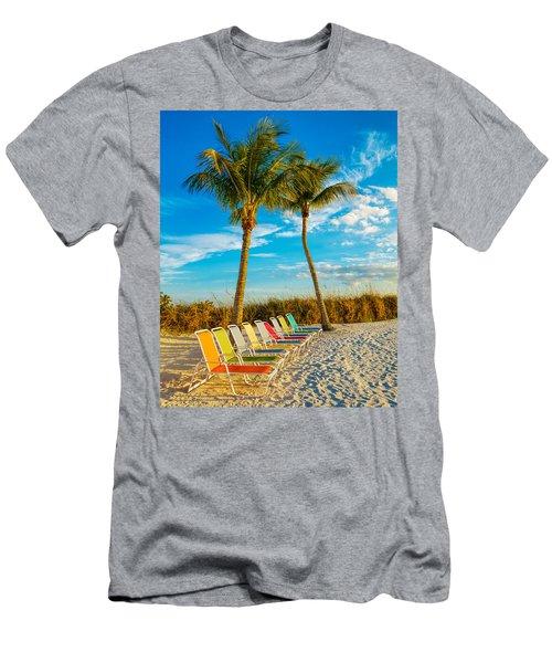 Beach Lounges Under Palms Men's T-Shirt (Athletic Fit)