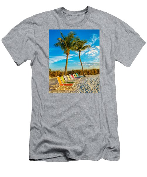 Beach Lounges Under Palms Men's T-Shirt (Athletic Fit)