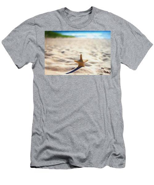 Beach Starfish Wood Texture Men's T-Shirt (Slim Fit) by Dan Sproul