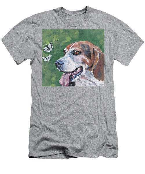 Men's T-Shirt (Slim Fit) featuring the painting Beagle And Butterflies by Lee Ann Shepard