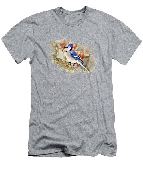 Beautiful Blue Jay - Watercolor Art Men's T-Shirt (Athletic Fit)