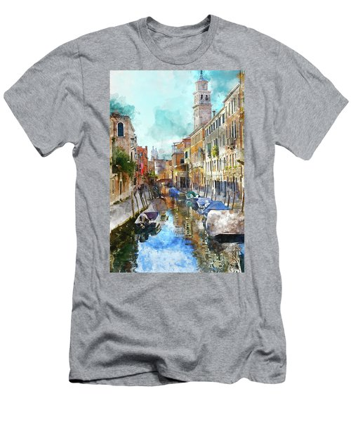 Beautiful Boats In Venice, Italy Men's T-Shirt (Athletic Fit)