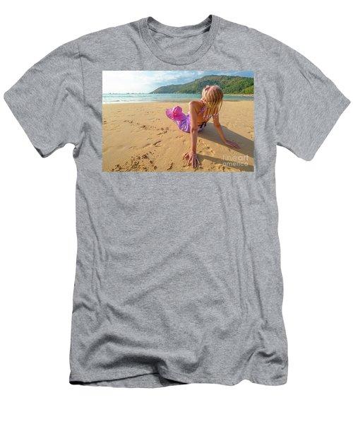 Beautiful Woman Sunbathing On Beach Men's T-Shirt (Athletic Fit)
