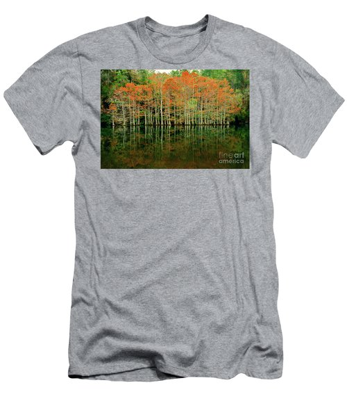 Beaver's Bend Cypress All In A Row Men's T-Shirt (Slim Fit) by Tamyra Ayles