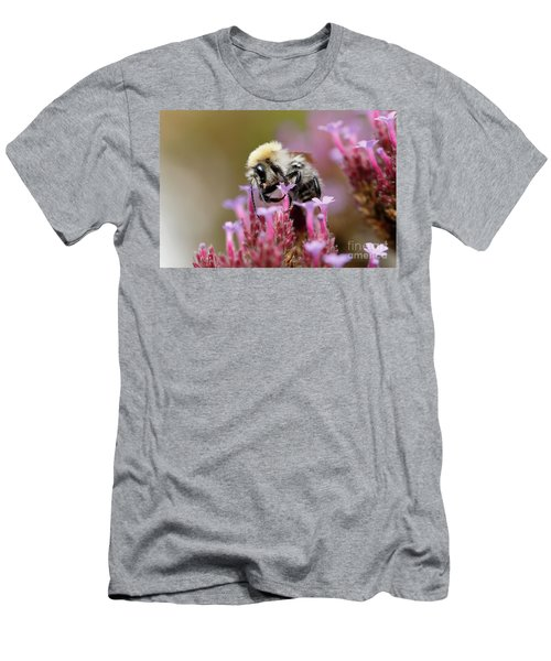 Men's T-Shirt (Athletic Fit) featuring the photograph Bee On A Verbena Bonariensis by Nick Biemans