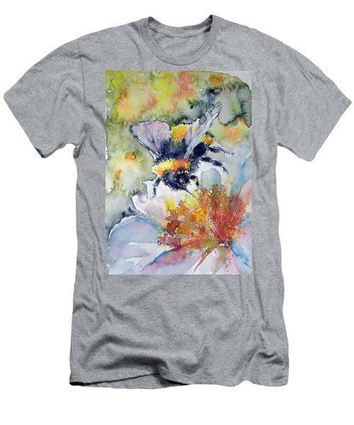 Bee On Flower Men's T-Shirt (Slim Fit) by Kovacs Anna Brigitta