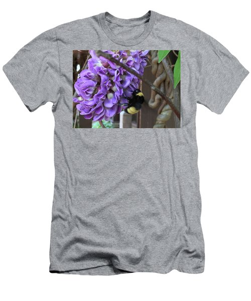 Bee On Native Wisteria Men's T-Shirt (Slim Fit) by Angela Annas