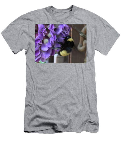 Men's T-Shirt (Slim Fit) featuring the painting Bee On Native Wisteria I by Angela Annas