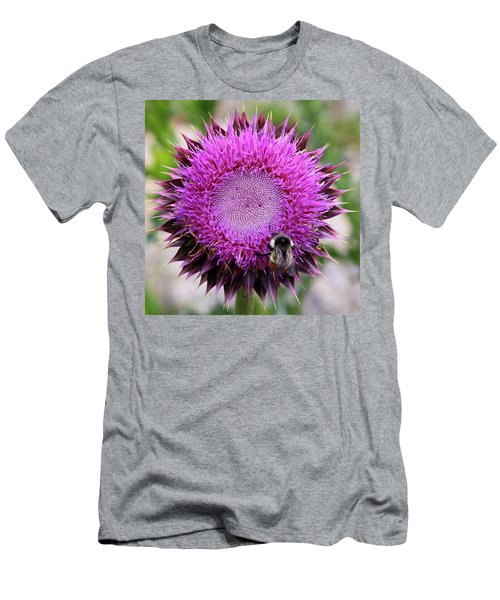Men's T-Shirt (Athletic Fit) featuring the photograph Bee On Thistle by David Chandler