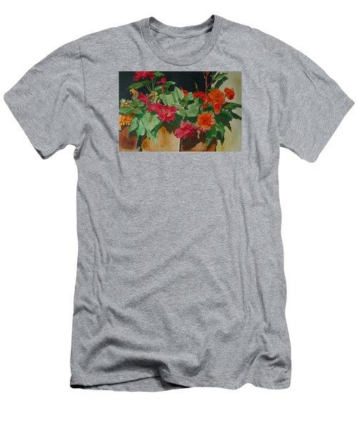 Begonias Flowers Colorful Original Painting Men's T-Shirt (Slim Fit) by Elizabeth Sawyer