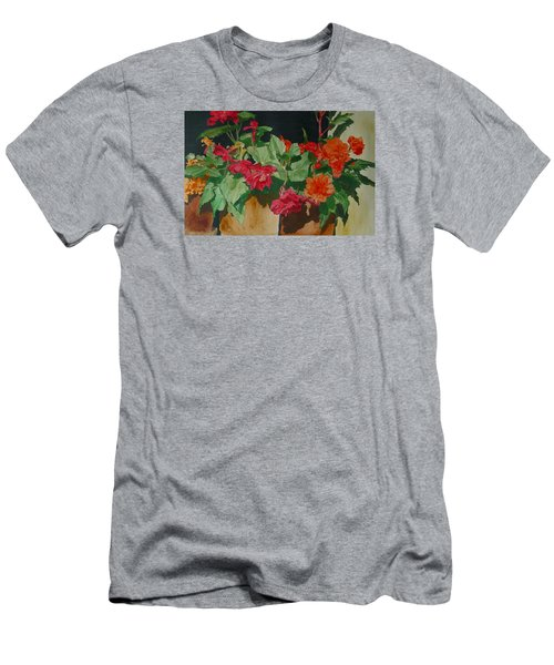 Begonias Flowers Colorful Original Painting Men's T-Shirt (Athletic Fit)
