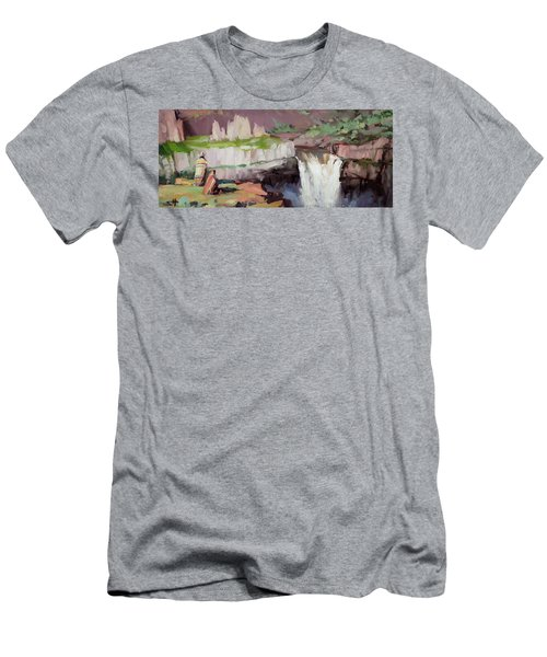 Men's T-Shirt (Athletic Fit) featuring the painting Beholding Palouse Falls by Steve Henderson
