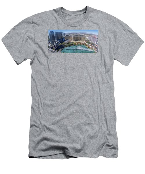 Bellagio Fountains In The Afternoon Men's T-Shirt (Slim Fit) by Aloha Art