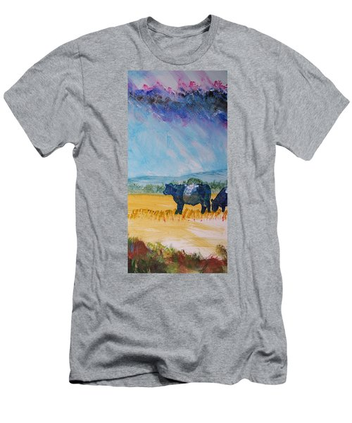 Belted Galloway Cows Narrow Painting Men's T-Shirt (Athletic Fit)