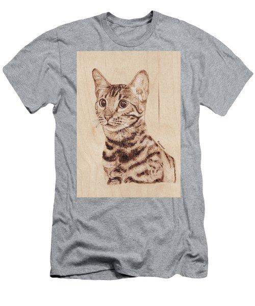 Bengal Cat - Wood Burning Men's T-Shirt (Athletic Fit)