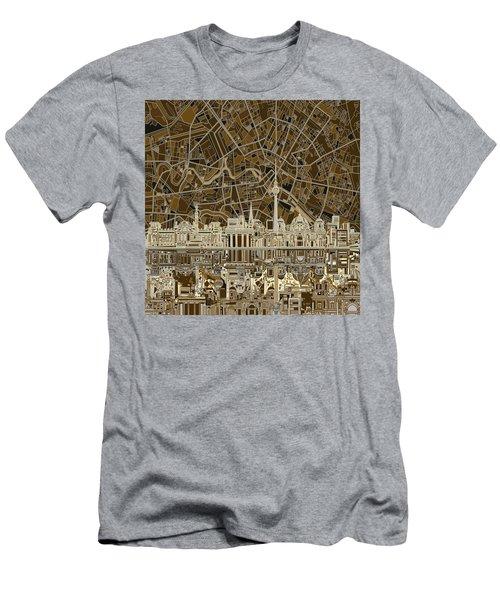 Berlin City Skyline Abstract Brown Men's T-Shirt (Slim Fit) by Bekim Art