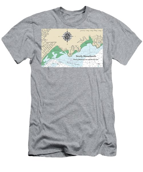 Beverly Cove Nautical Map Men's T-Shirt (Athletic Fit)