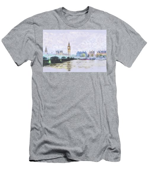 Big Ben And Westminster Bridge London England Men's T-Shirt (Athletic Fit)