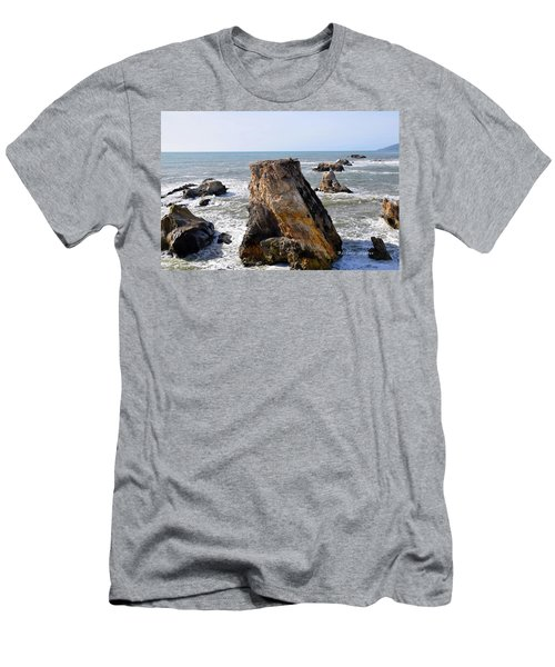 Men's T-Shirt (Slim Fit) featuring the photograph Big Rocks In Grey Water by Barbara Snyder
