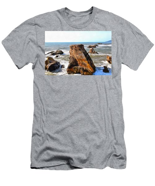 Men's T-Shirt (Slim Fit) featuring the photograph Big Rocks In Grey Water Painting by Barbara Snyder