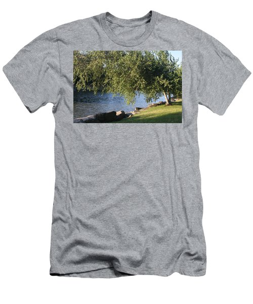 Men's T-Shirt (Athletic Fit) featuring the photograph Birch And Lake by Vadim Levin
