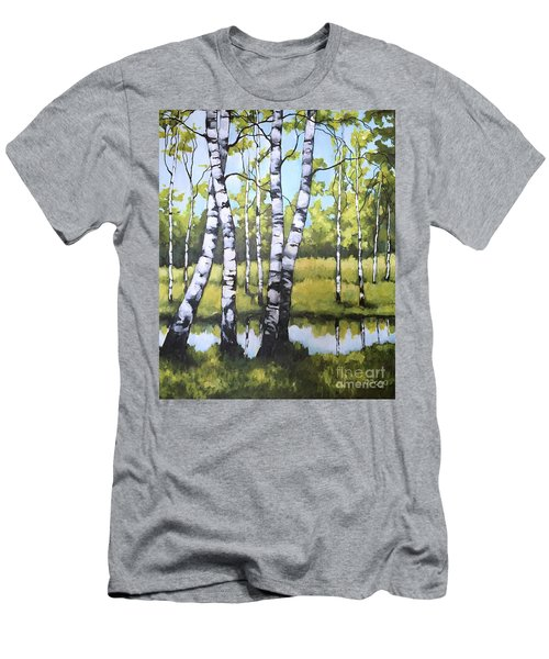 Birches In Spring Mood Men's T-Shirt (Slim Fit) by Inese Poga