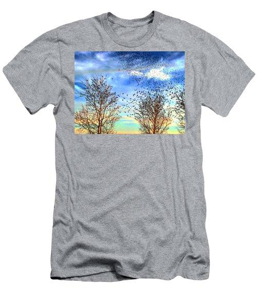 Bird Swarms Versus Hawks On The Prairie Men's T-Shirt (Athletic Fit)