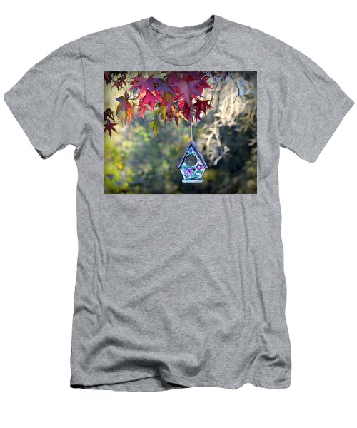 Men's T-Shirt (Athletic Fit) featuring the photograph Birdhouse Under The Autumn Leaves by AJ Schibig