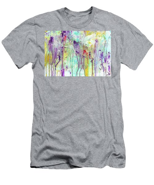 Birds On The Wire - Colorful Bright Modern Abstract Art Painting Men's T-Shirt (Athletic Fit)