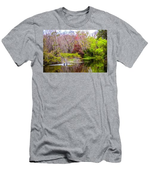 Men's T-Shirt (Slim Fit) featuring the photograph Birds Playing In The Pond 3 by Madeline Ellis