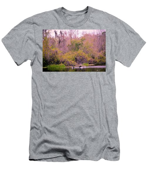 Men's T-Shirt (Slim Fit) featuring the photograph Birds Playing In The Pond 1 by Madeline Ellis