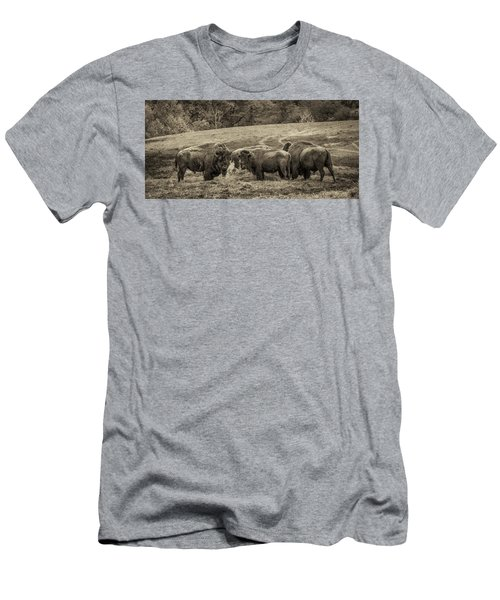 Men's T-Shirt (Athletic Fit) featuring the photograph Bison 1 - Pano by Joye Ardyn Durham