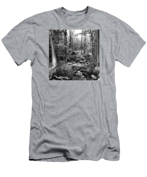 Black And White Babbling Brook Men's T-Shirt (Slim Fit) by Jason Nicholas