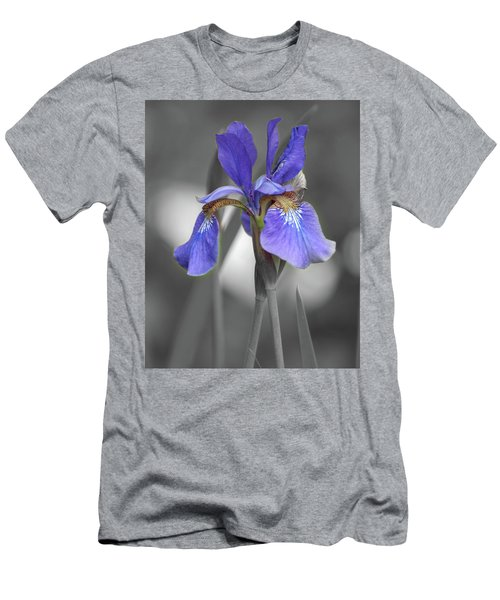 Men's T-Shirt (Athletic Fit) featuring the photograph Black And White Blue Bearded Iris by Brenda Jacobs