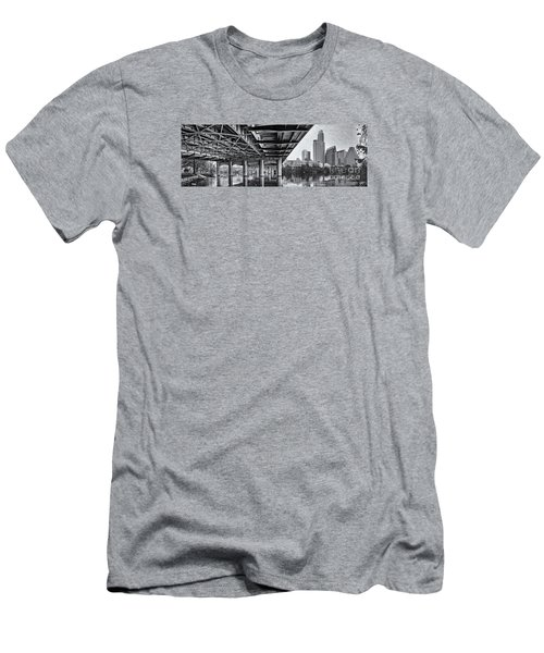 Black And White Panorama Of Downtown Austin Skyline Under The Bridge - Austin Texas  Men's T-Shirt (Athletic Fit)