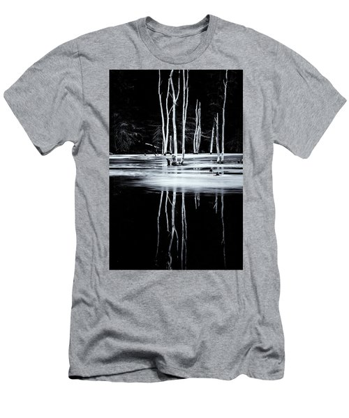 Black And White Winter Thaw Relections Men's T-Shirt (Slim Fit) by Tom Singleton