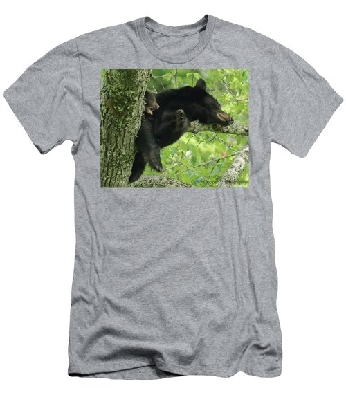 Men's T-Shirt (Slim Fit) featuring the photograph Black Bear In Tree With Cub by Coby Cooper