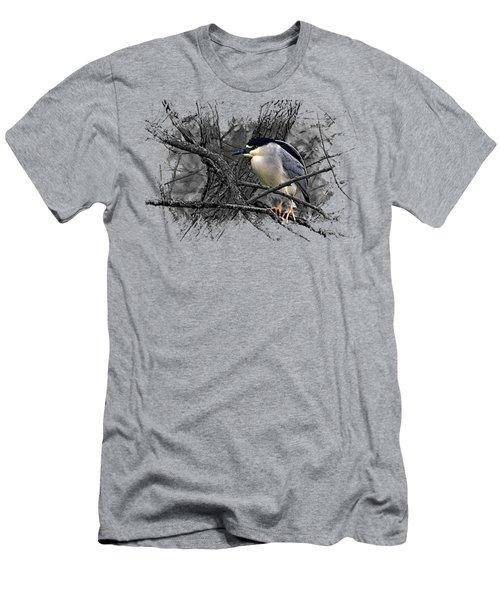 Black Crowned Night Heron 001 Men's T-Shirt (Slim Fit) by Di Designs