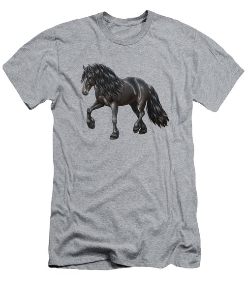 Black Friesian Horse In Snow Men's T-Shirt (Athletic Fit)