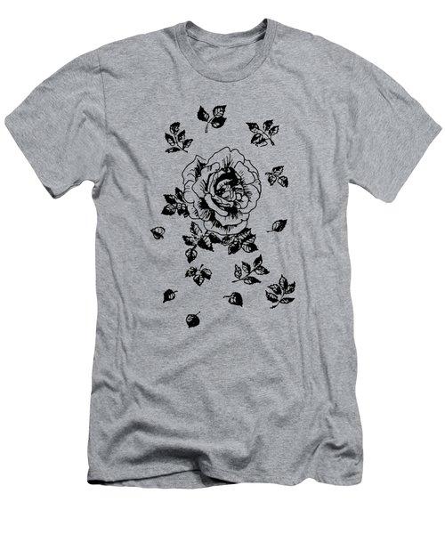 Black Graphic Rose Men's T-Shirt (Athletic Fit)