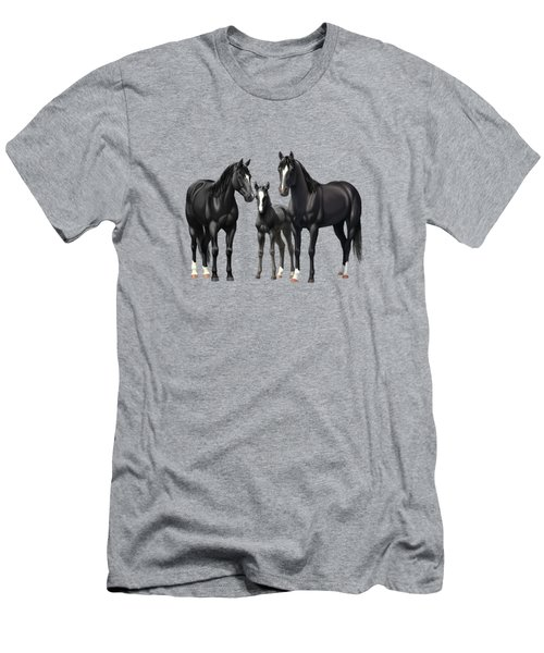 Black Horses In Winter Pasture Men's T-Shirt (Athletic Fit)