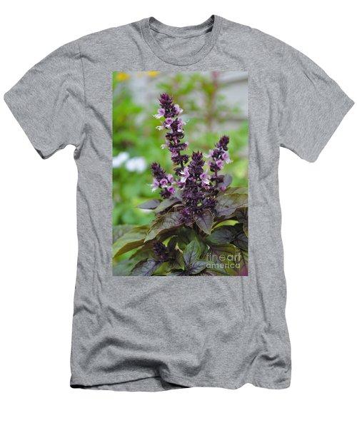 Black Opal Basil Flower Men's T-Shirt (Athletic Fit)
