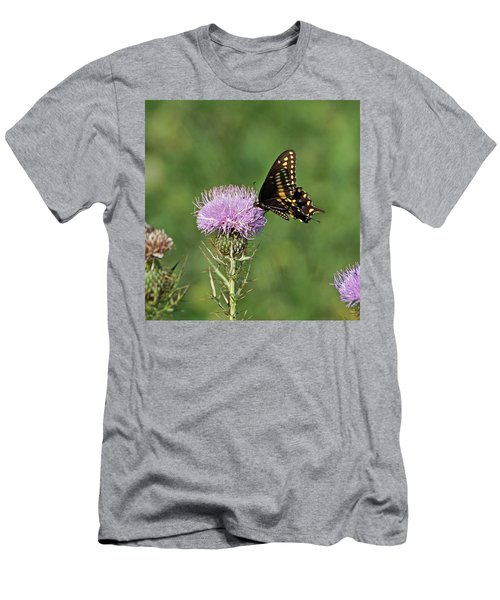 Men's T-Shirt (Slim Fit) featuring the photograph Black Swallowtail Butterfly by Sandy Keeton