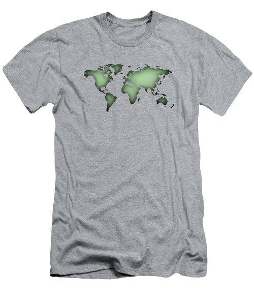 Black Worldmap Over Backlight  Men's T-Shirt (Athletic Fit)