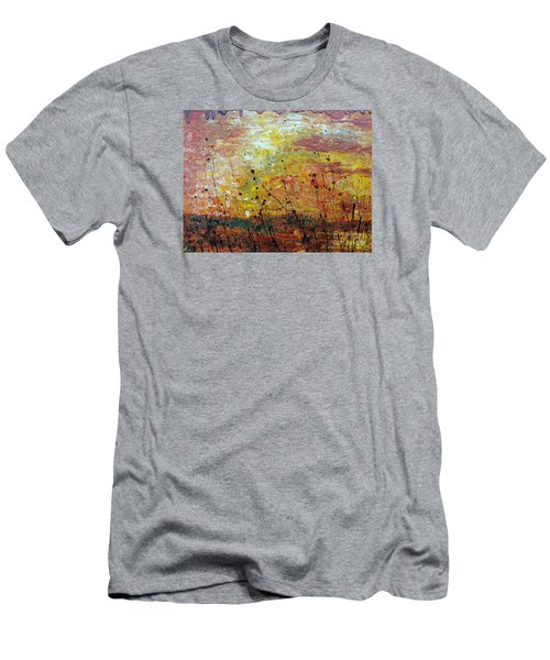 Men's T-Shirt (Slim Fit) featuring the painting Blazing Prairie by Jacqueline Athmann