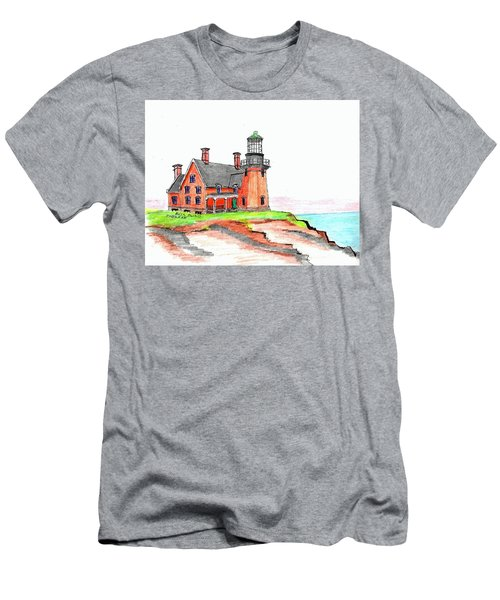 Block Island South Lighthouse Men's T-Shirt (Athletic Fit)