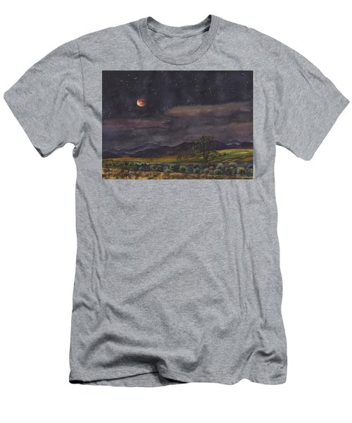 Men's T-Shirt (Slim Fit) featuring the painting Blood Moon Over Boulder by Anne Gifford