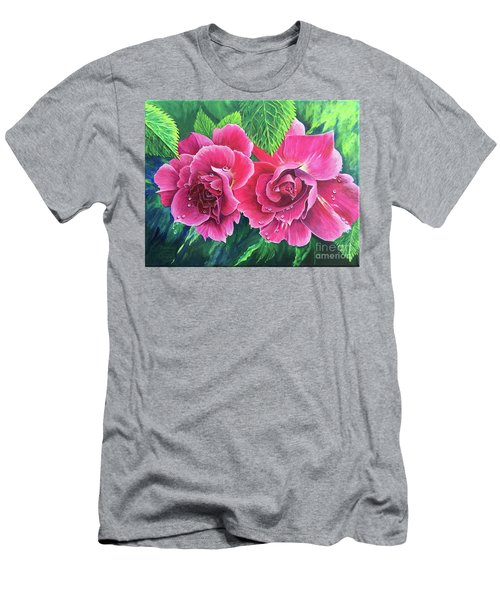 Men's T-Shirt (Athletic Fit) featuring the painting Blossom Buddies by Nancy Cupp
