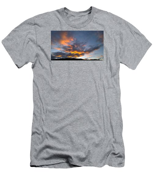 Men's T-Shirt (Slim Fit) featuring the photograph Blue And Orange Sunset Over Blue Ridge Mountains by Kelly Hazel